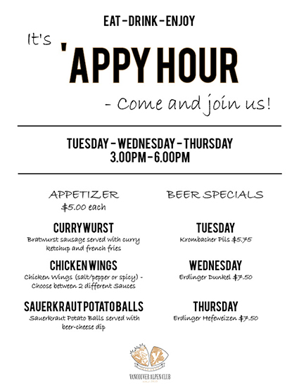 Come Join Us For Our New 'APPY HOUR!